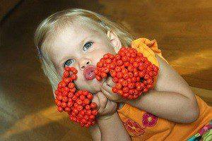 Ребенок и красная рябина